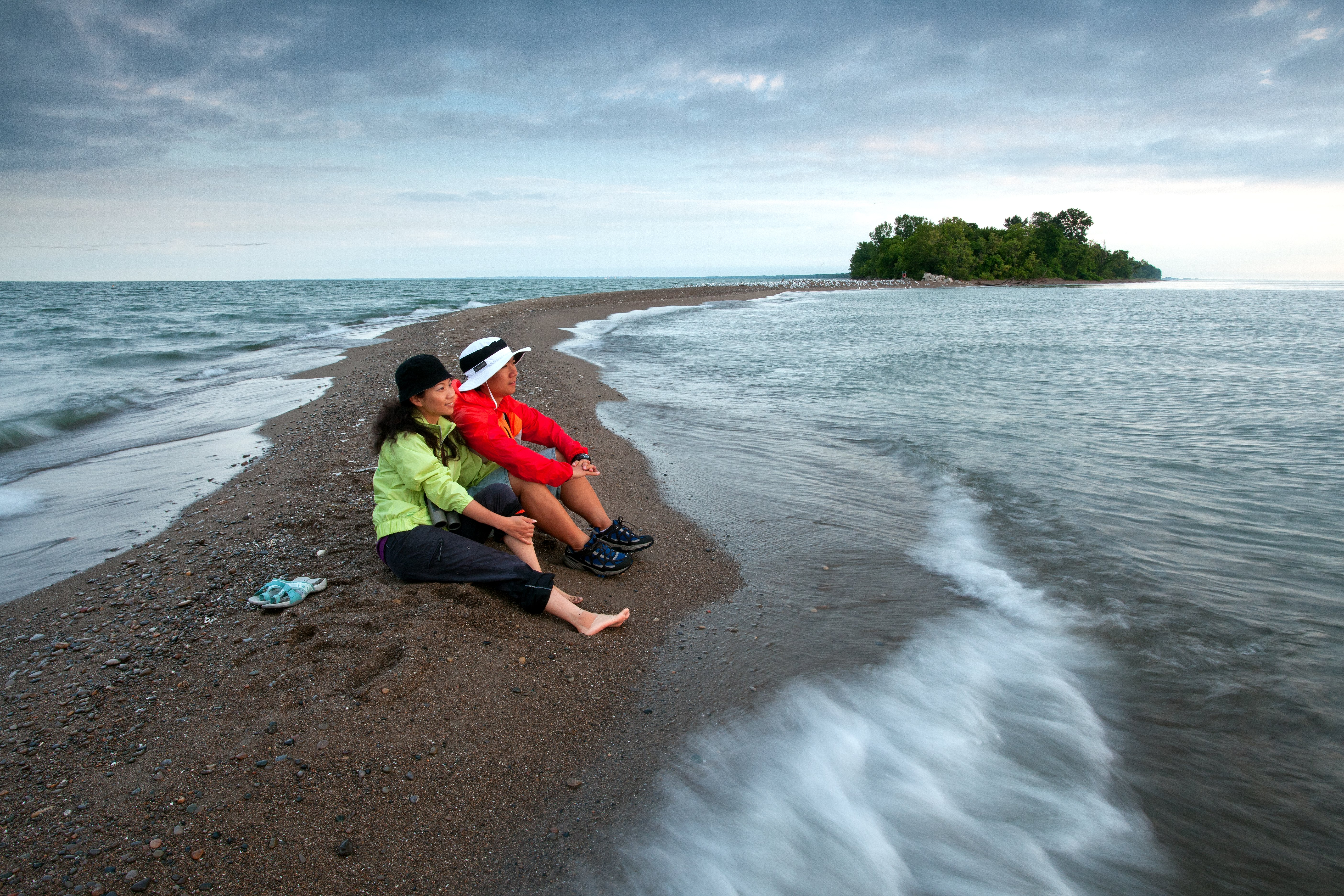 Couple sitting on point pelee