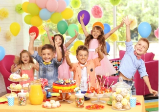 Children excited at a birthday party