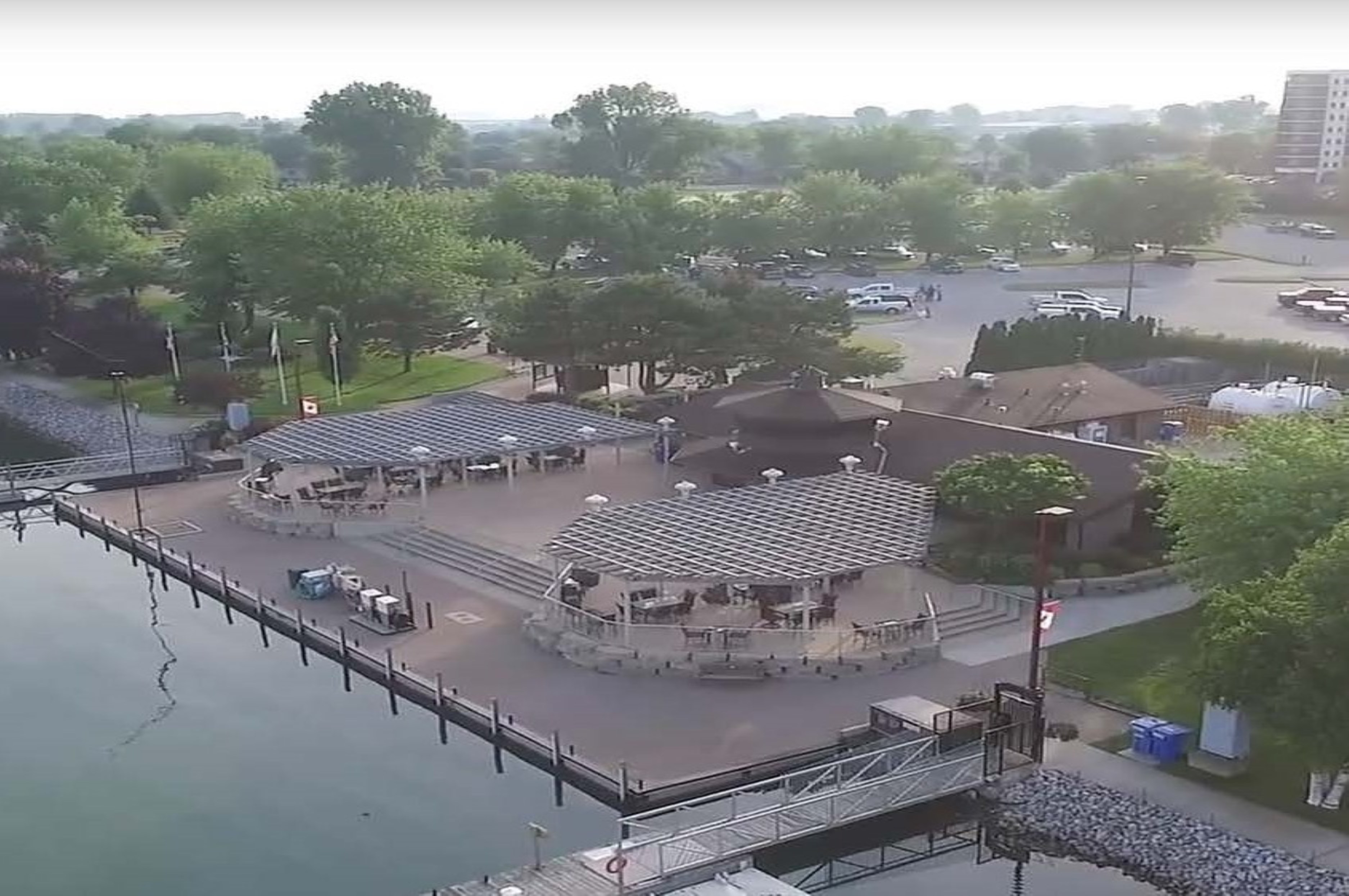 Aerial of marina patio and grounds