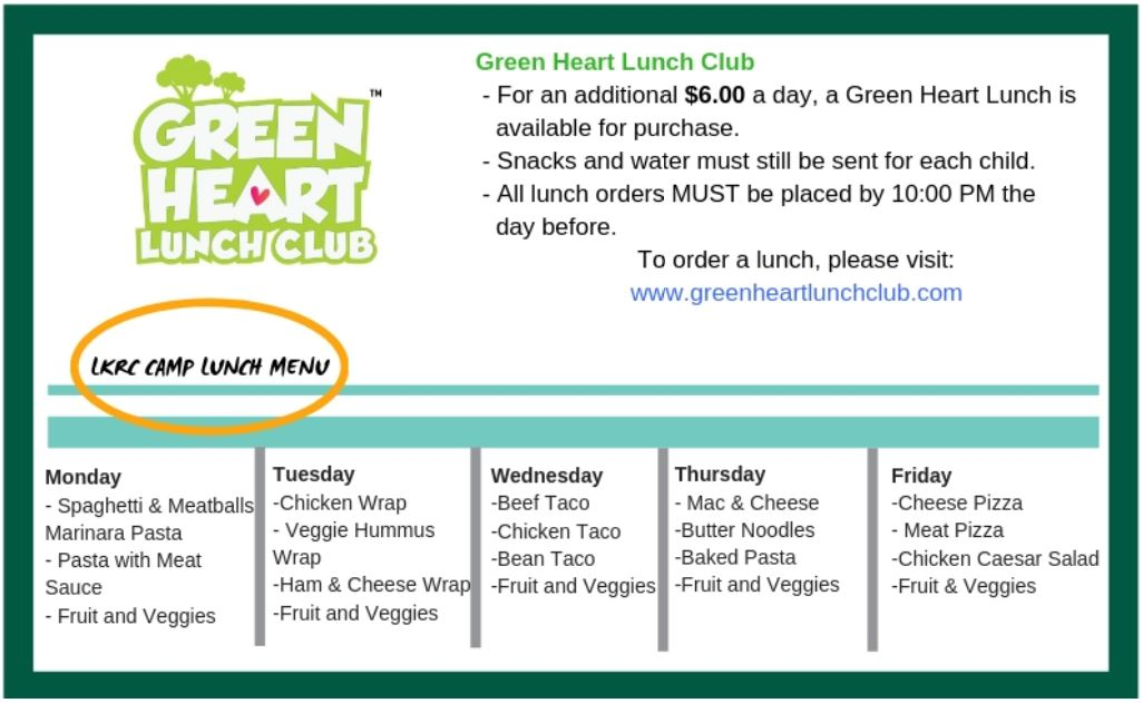 Green Heart Lunch Menu and Information