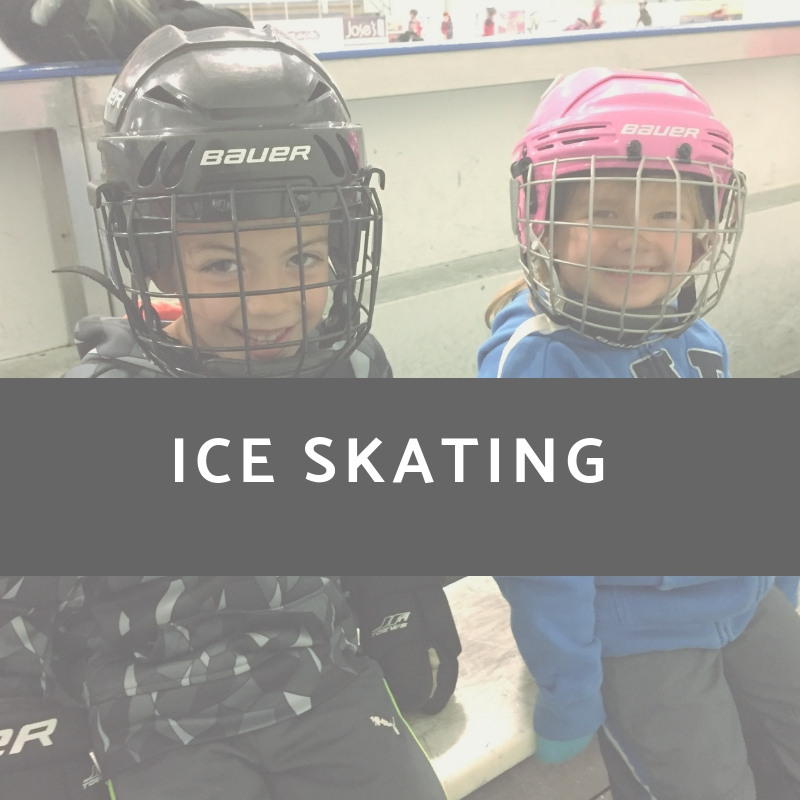 Photo of Boy and Girl Youth with Helmets and Ice Skating text