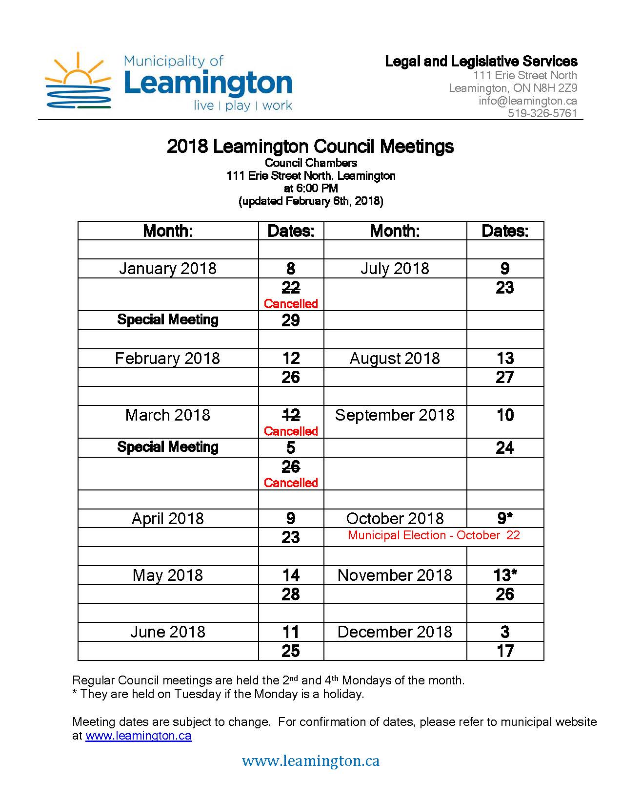 2018 Council Meeting Dates