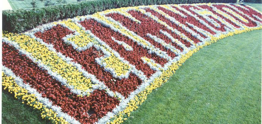Leamington spelled out in yellow, red and white flowers.